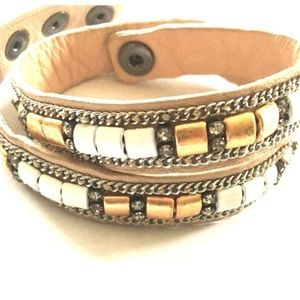 Stella and Dot Cady leather wrap bracelet